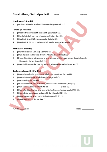 Arbeitsblatt: Beurteilungsraster Selbstporträt - Deutsch - Lehrmittel