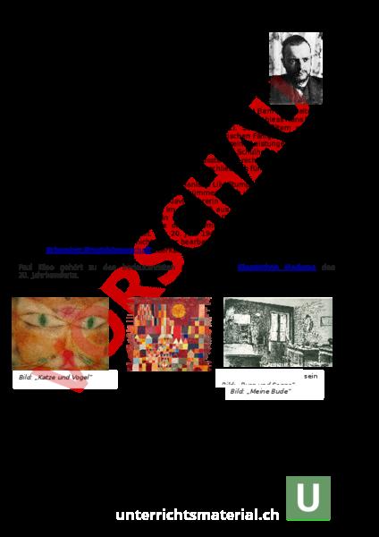 downloads arbeitsbltter lsungen zusatzmaterial - Paul Klee Lebenslauf