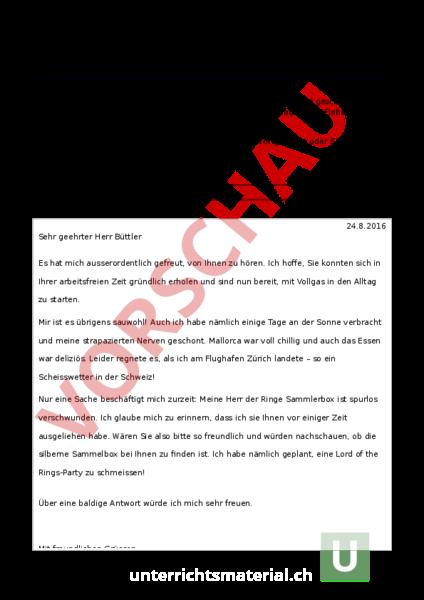 Arbeitsblatt Ein Seltsamer Brief Falsches Register Deutsch