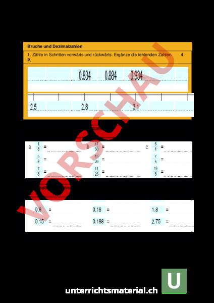 Arbeitsblatt: Test Brüche u. Dezimalzahlen u. Zahlen ordnen ...