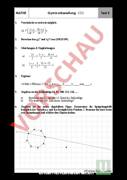 www.unterrichtsmaterial.ch - Mathematik - Gemischte Themen - Test 2 ...