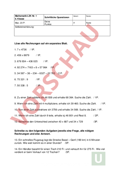 Arbeitsblatt: LZK Mathe - Schriftliche Operationen - Mathematik ...