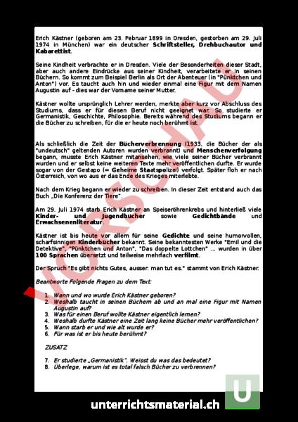 Arbeitsblatt Lebenslauf Erich Kostner Deutsch Textverstandnis