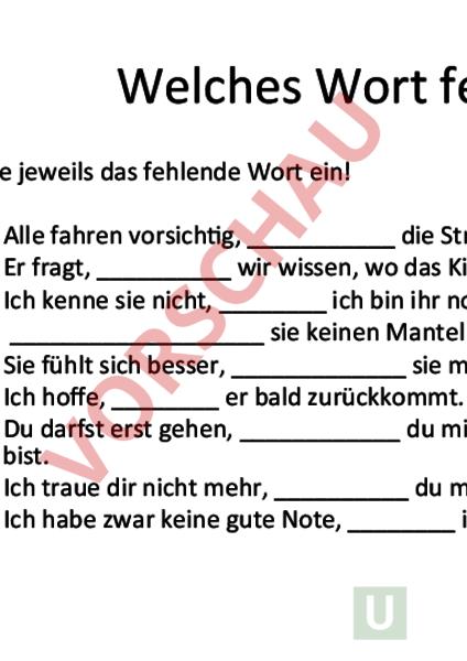 Arbeitsblatt: Präposition und Konjunktion - Deutsch - Grammatik