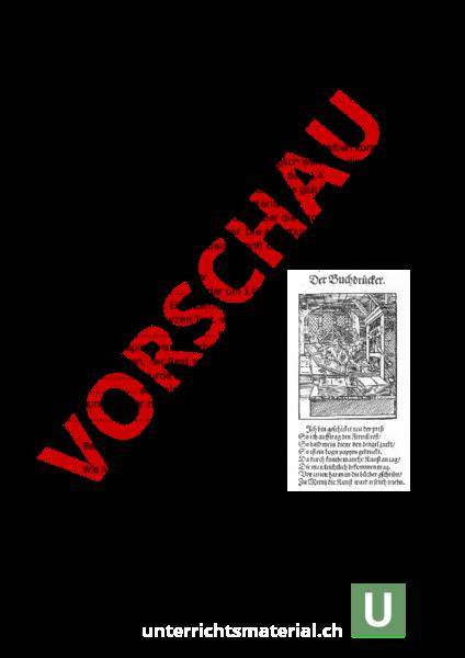 Arbeitsblatt: Buchdruck und Reformation - Geschichte - Mittelalter