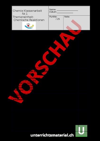 www.unterrichtsmaterial.ch - Chemie - Anderes Thema - chemische ...