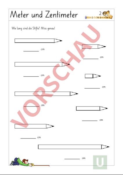 Arbeitsblatt: Meter - Zentimeter - Mathematik - Sachrechnen / Grössen