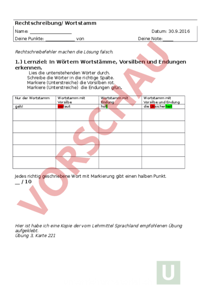 www.unterrichtsmaterial.ch - Deutsch - Rechtschreibung - Wortstamm 5 ...