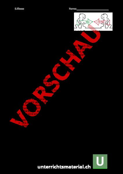 Arbeitsblatt Pro Contra Erörterung Deutsch Texte Schreiben