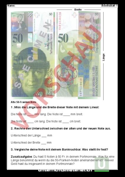 Arbeitsblatt: Arbeitsblätter Thema Geld - Mathematik - Sachrechnen ...