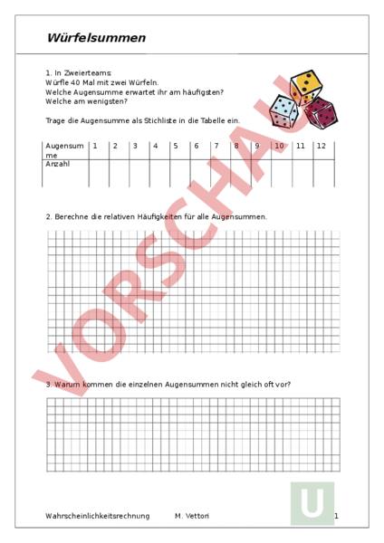 www.unterrichtsmaterial.ch - Mathematik - Repetition - Würfelsummen ...