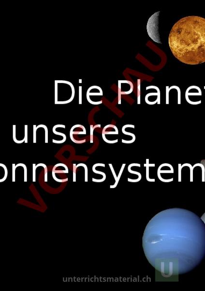 Arbeitsblatt: Unsere Planeten - Geographie - Anderes Thema