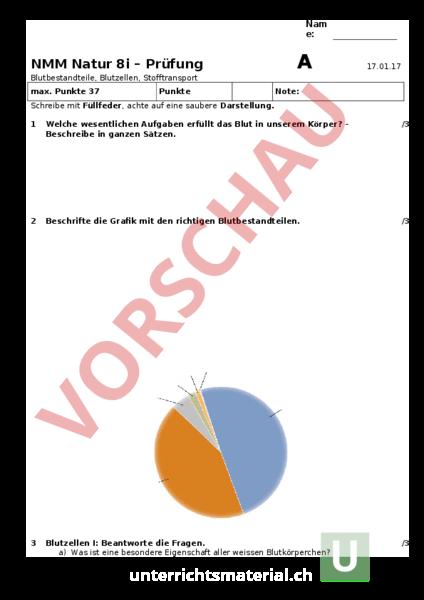 Arbeitsblatt: Prüfung Blutbestandteile Stofftransport - Biologie ...