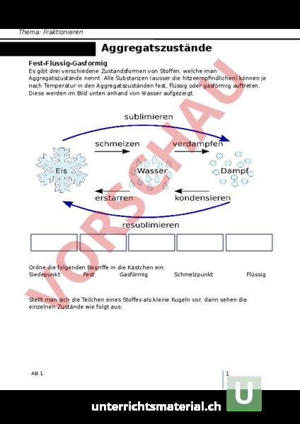Arbeitsblatt: Aggregatszustände mit Lösung - Chemie - Aggregatszustände