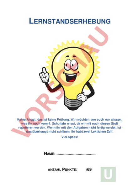 Arbeitsblatt: Lernstandserfassung 4. Klasse - Mathematik - Repetition
