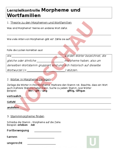 Arbeitsblatt: Test Morpheme - Deutsch - Grammatik