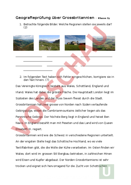 Arbeitsblatt: Grossbritannien, Test - Geographie - Europa