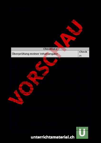 Arbeitsblatt Checkliste Inhaltsangabe Deutsch Texte Schreiben