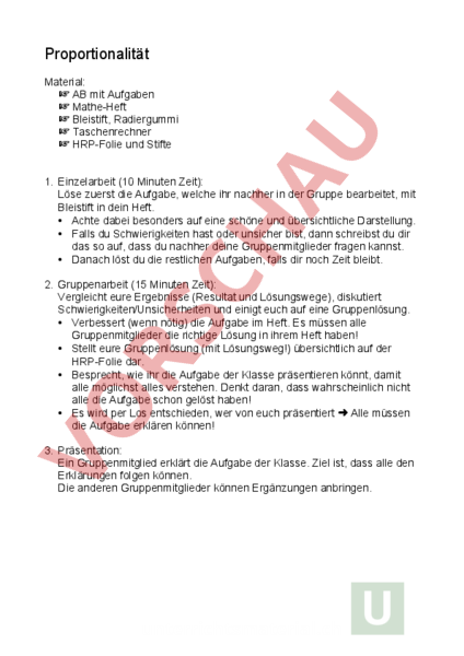 Arbeitsblatt: Proportionalität (kooperative Lernform) - Mathematik ...