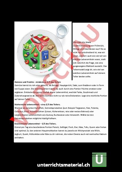 Arbeitsblatt: Lebensmittelpyramide Umsetzung im Alltag - Wirtschaft ...