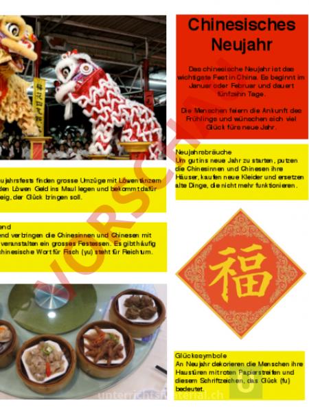 Arbeitsblatt: Lehrtafel Chinesisches Neujahr - Lebenskunde - Feste ...
