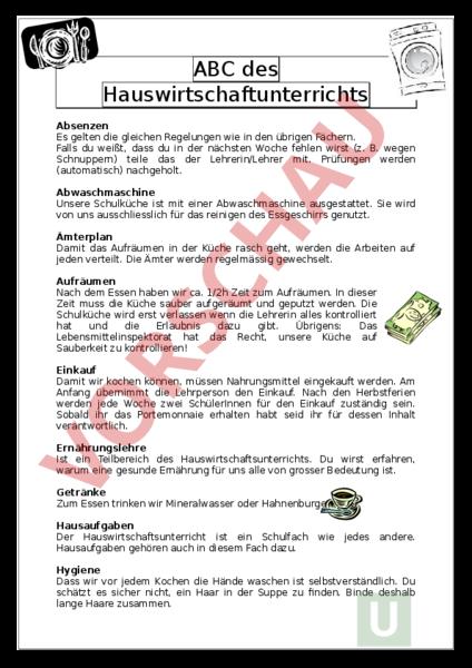 Arbeitsblatt: Hauswirtschafts ABC - Wirtschaft, Arbeit, Haushalt ...