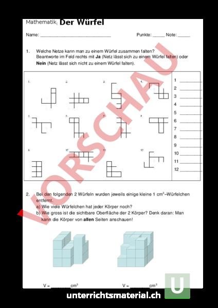 geometrie k rper figuren w rfel test arbeitsbl tter. Black Bedroom Furniture Sets. Home Design Ideas