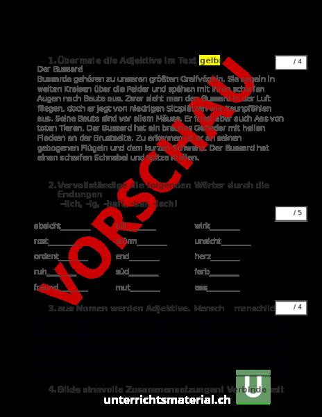 Arbeitsblatt Adjektive Test Deutsch Grammatik