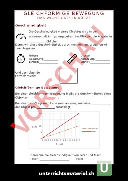 Arbeitsblatt: Geschwindigkeit - gleichförmige Bewegung - Physik ...