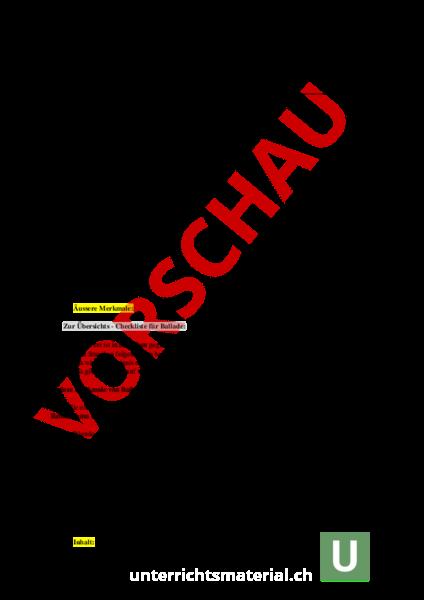 Arbeitsblatt: Ballade analysieren - Deutsch - Textverständnis