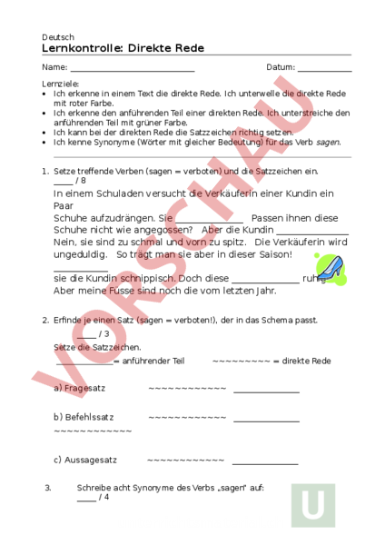Arbeitsblatt: Direkte / Indirekte Rede Test - Deutsch - Rechtschreibung