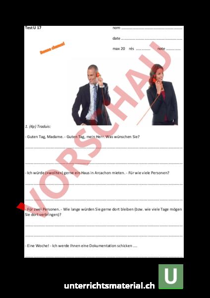www.unterrichtsmaterial.ch - Französisch - Grammatik - Test Unité 17 ...