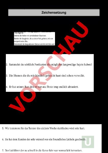 Arbeitsblatt: Kommasetzung - Deutsch - Rechtschreibung