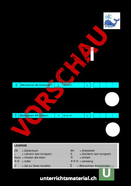 Arbeitsblatt: Matheplan 4. Klasse - Mathematik - Division