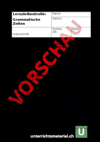 arbeitsblatt lernzielkontrolle grammatische zeiten deutsch grammatik. Black Bedroom Furniture Sets. Home Design Ideas