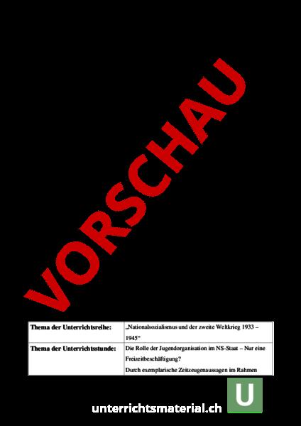 Arbeitsblatt: Die Hitlerjugend - Geschichte - Neuzeit