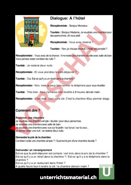 Arbeitsblatt: Dialogues à l\'hôtel - Französisch - Texte schreiben