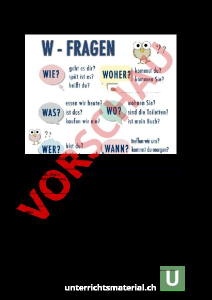 Arbeitsblatt: W-Fragen - Deutsch - Gemischte Themen