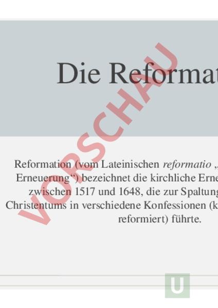 Arbeitsblatt Reformation Geschichte Gemischte Themen