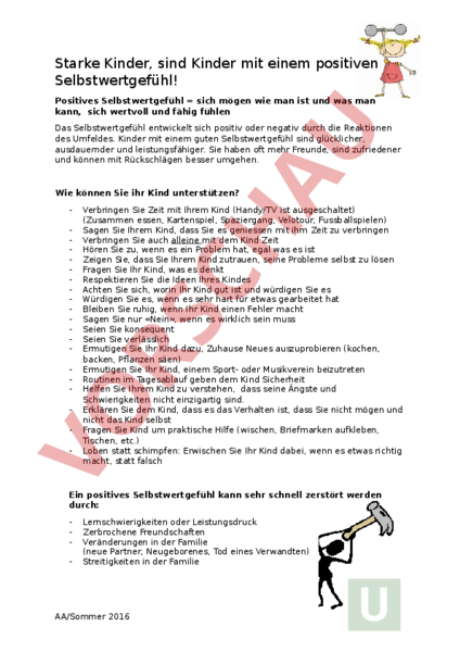 Arbeitsblatt: Starke Kinder - Diverses / Fächerübergreifend ...