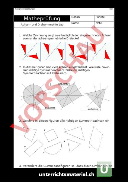 arbeitsblatt pr fung achsensymmetrie geometrie symmetrien. Black Bedroom Furniture Sets. Home Design Ideas