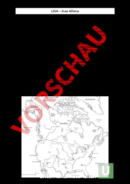 Arbeitsblatt: USA-Das Klima - Geographie - Nordamerika