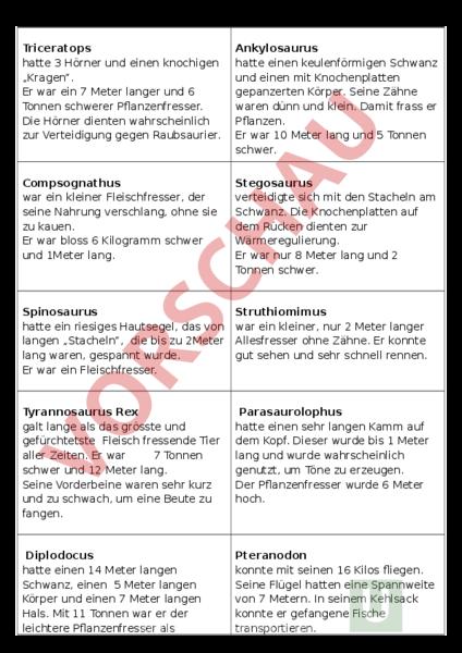 Arbeitsblatt: Dinosaurier - Geschichte - Urzeit