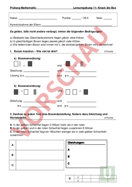 Arbeitsblatt: Prüfung Mathbuch 1 LU 11 - Mathematik - Gleichungen ...