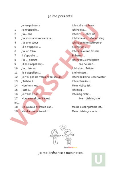 Arbeitsblatt: je me présente - Französisch - Anderes Thema