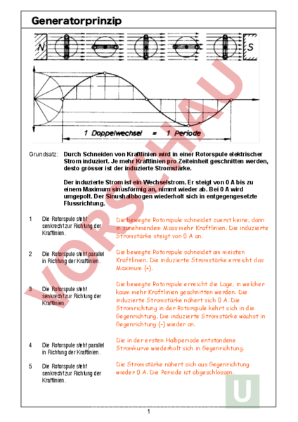 Arbeitsblatt: AB Generatorprinzip - Physik - Elektrizität / Magnetismus