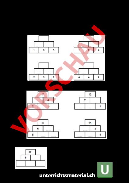 arbeitsblatt zahlenmauern mathematik zahlenbereiche
