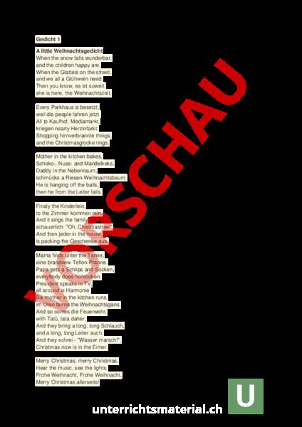 Arbeitsblatt: A little Weihnachtsgedicht - Administration / Methodik ...