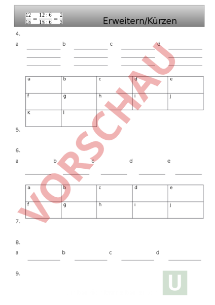 Arbeitsblatt: M Primar 6 Kürzen/Erweitern Buch S.13-15 - Mathematik ...