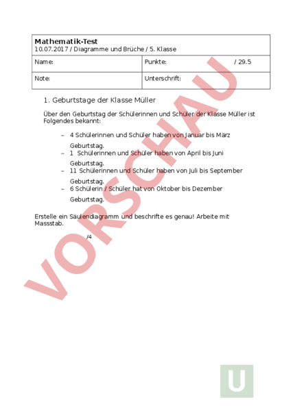 Arbeitsblatt: Lernschrittkontrolle - Mathematik - Brüche / Dezimalzahlen
